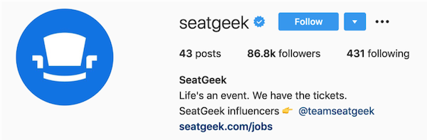 instagram bios seatgeek
