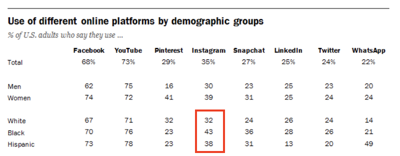 instagram-demographics-2021-ethnicity-demographics