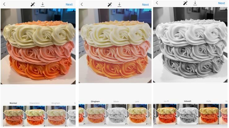 one photo of a cake with three different Instagram filters