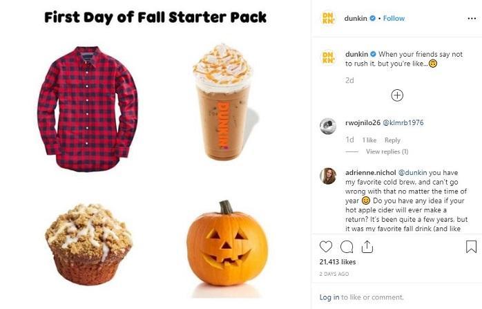 Dunkin's fall starter pack Instagram post