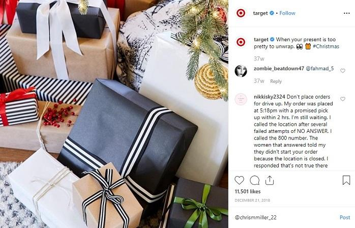 gift wrapping offer for holiday Instagram sales