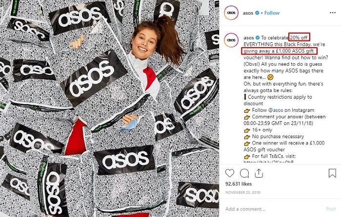 ASOS Instagram giveaway