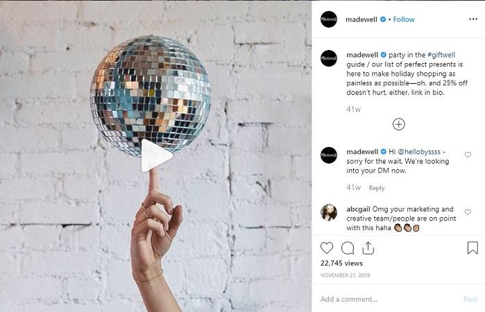Madewell Instagram post with last-minute holiday ideas