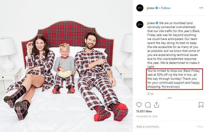 JCrew holiday Instagram post