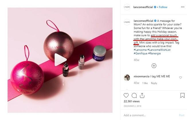 Lancome Instagram post with limited offer