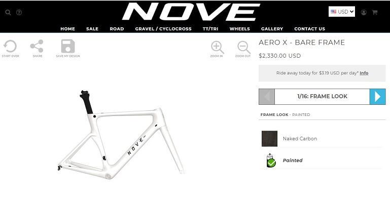interactive content example: Nove Bike's Aero X