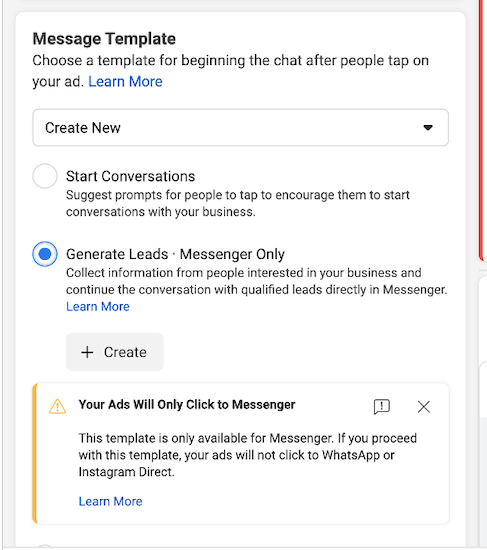 """""""generate leads"""" option selected in facebook messenger ad setup"""
