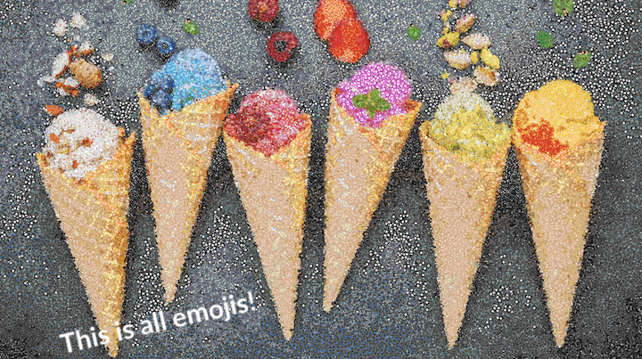 emoji mosaic of ice cream cones