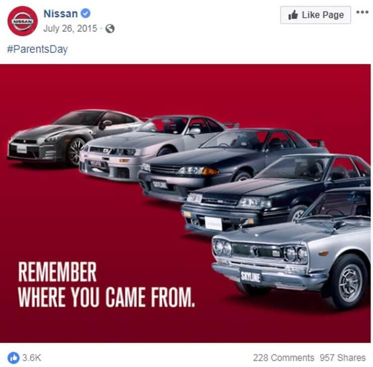july marketing ideas national parents day nissan ad