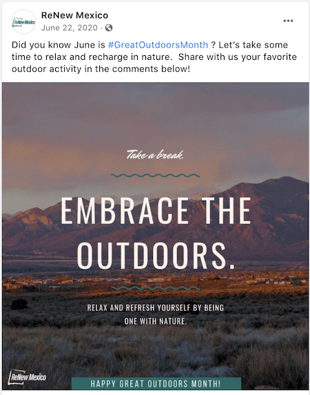 june marketing ideas great outdoors month inspirational post