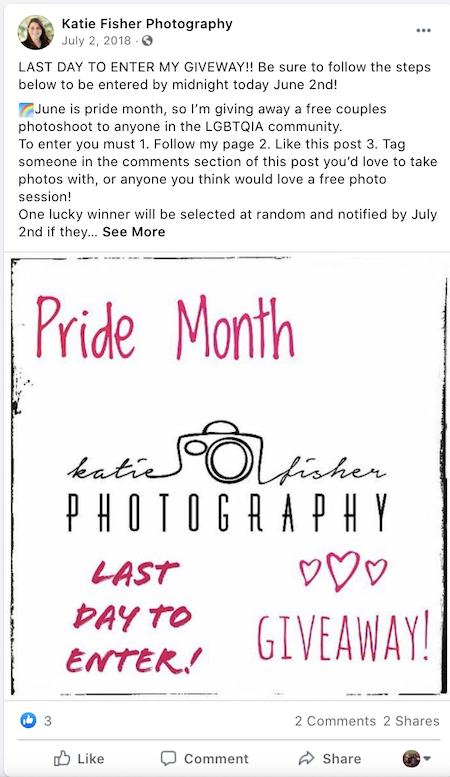 june marketing ideas facebook giveaway for couple photoshoot