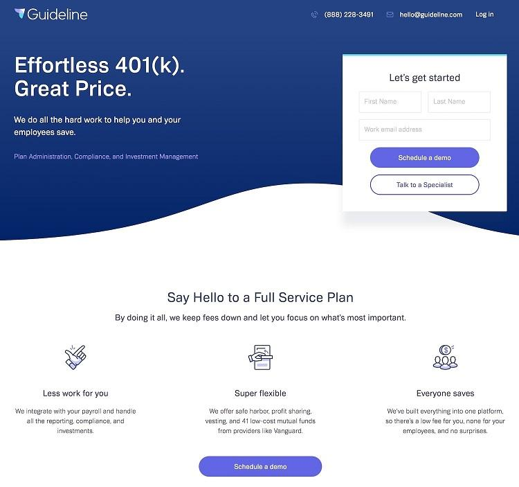 example landing page