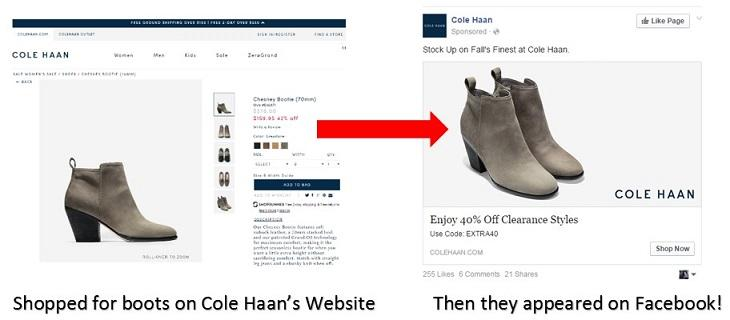 example of a personalized ad with Cole Haan boots