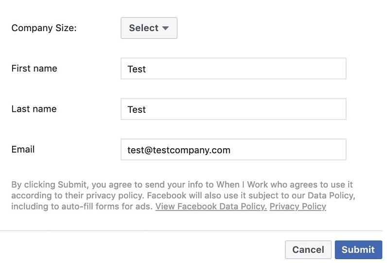 Facebook lead ad create form