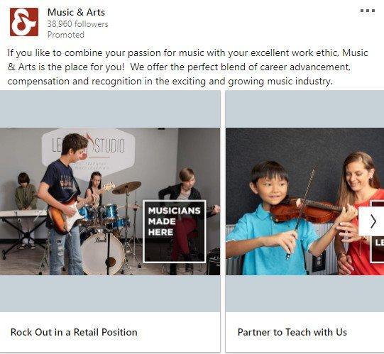 linkedin-advertising-example-music-and-arts