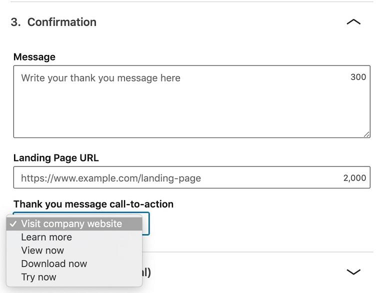 "LinkedIn lead generation form ""company website"" in drop-down menu"