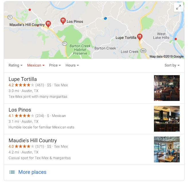 local search marketing Google maps example