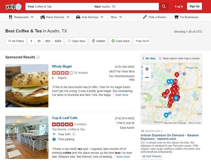 local search marketing example on yelp
