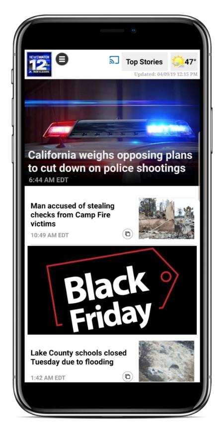 Black Friday ad on phone