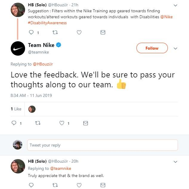 customer feedback tweets from Nike