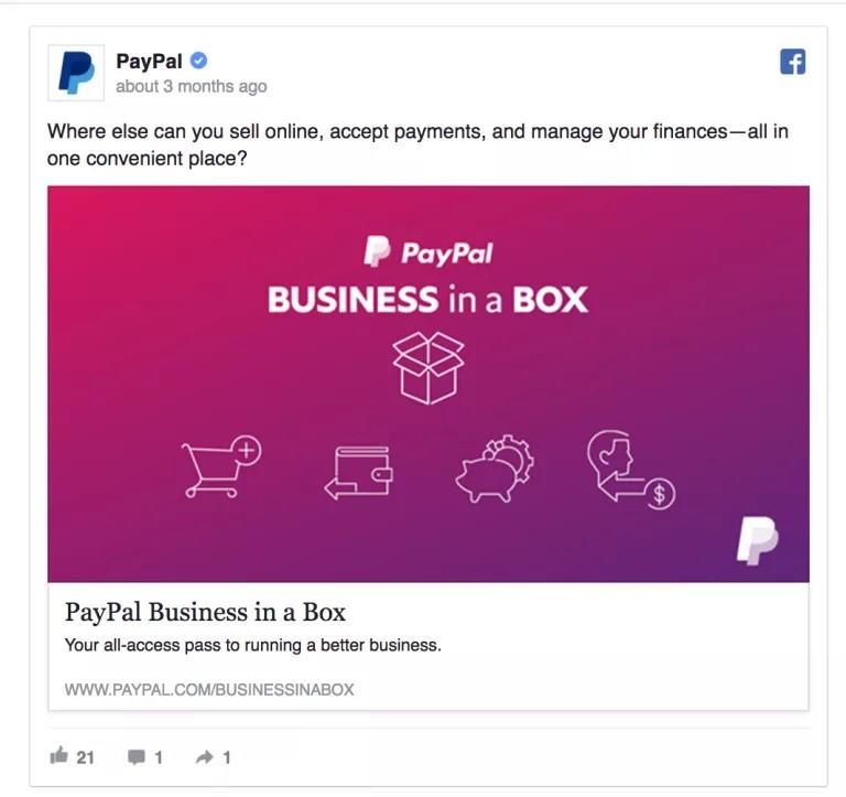 Manage social media accounts PayPal