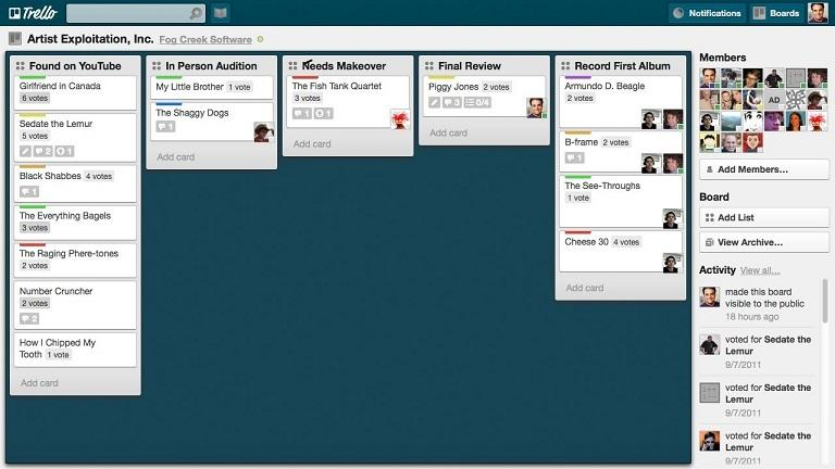 Manage social media accounts Trello