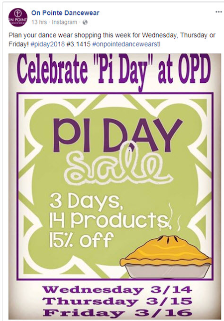 March marketing ideas pi day opd