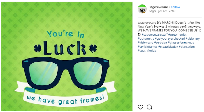March marketing ideas st. patricks day glasses