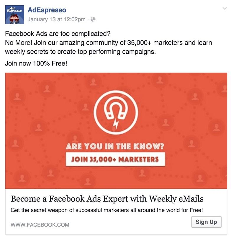 social proof ad test by AdEspresso