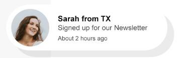 user proof image after newsletter sign up