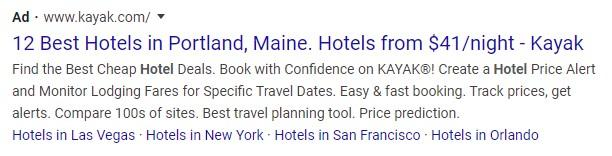 ppc ad example from Kayak