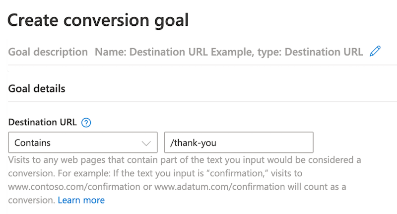 microsoft ads event tracking—conversion goal tab with destination url