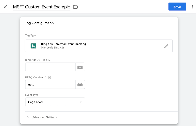 microsoft ads event tracking—google tag manager configuration tab
