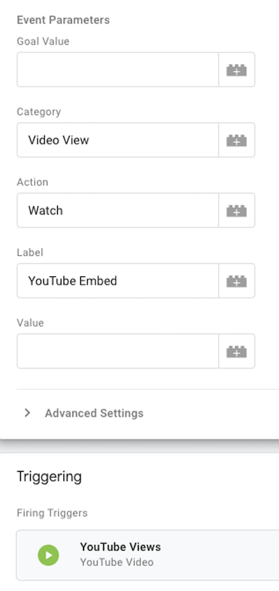 microsoft ads event tracking—set event parameters tab
