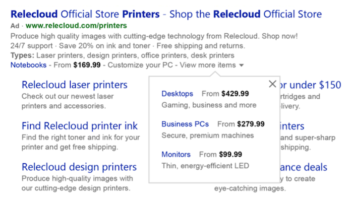 microsoft ads optimizations price extension