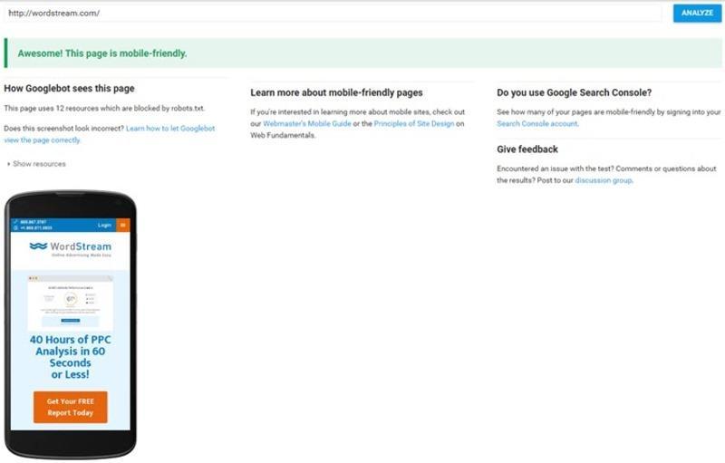google testing mobile marketing tools