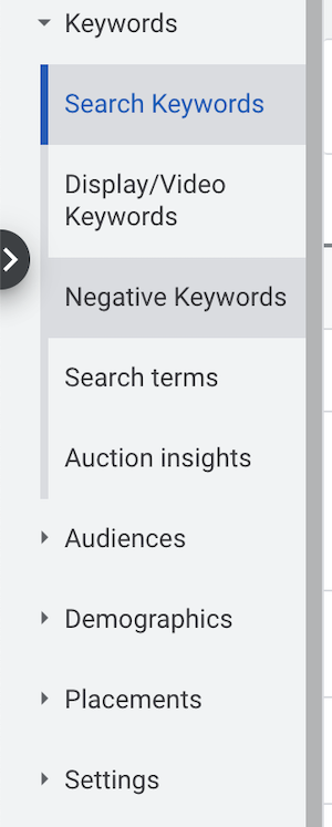 negative keywords menu