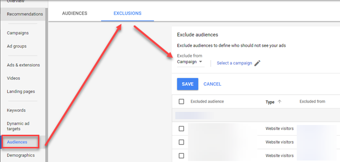 negative remarketing list audience adwords