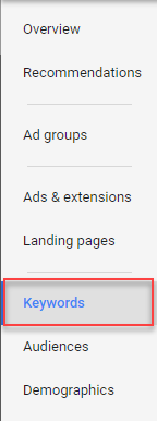 new adwords keyword tab