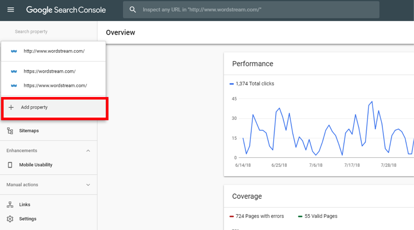 New Google Search Console Property