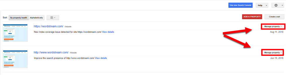 New Google Search Console Manage