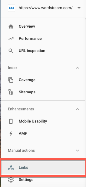 New Google Search Console Links