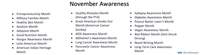 november marketing ideas november awareness