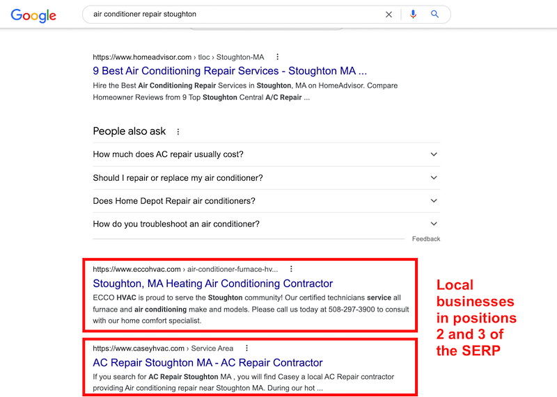 local business at top of search results increases online presence with local seo