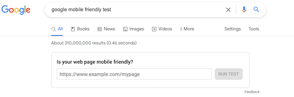 google's mobile friendly test to check online presence