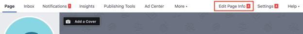 Facebook page edit button