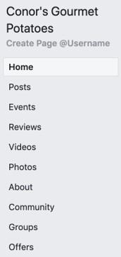 Facebook page tabs