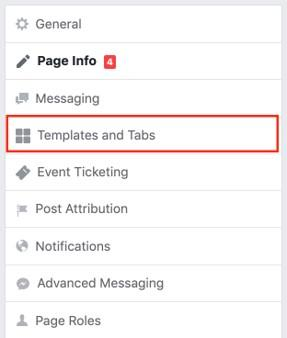 Facebook page template and tab options