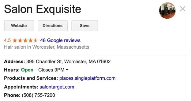 Google My Business example listing