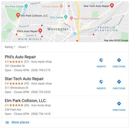 SERP for auto repair shop in Worcester, MA